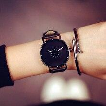 Marca de Moda de lujo Casual relojes de pulsera Unisex de Cuero Minimalista Creativo Correa de Acero reloj de Los Hombres Nuevo Diseño de Cuarzo relogio