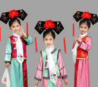 6 Colors New Embroidery Girl Qing Dynasty Princess Costume Children Hanfu Ancient Court Dress For Cosplay
