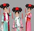 6 Colores Nuevo Bordado Muchacha de la Princesa de La Dinastía Qing Traje Niños Hanfu Antiguo Tribunal Vestido por Cosplay Representación Escénica