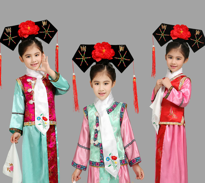 508434d55 6 Colors New Embroidery Girl Qing Dynasty Princess Costume Children Hanfu  Ancient Court Dress for Cosplay Stage Performance