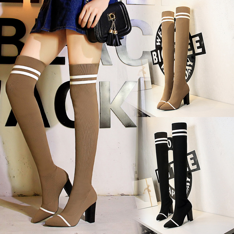 New 2018 Sexy Slim Over The Knee Boots Winter Pointed Toe Warm Women Boots Lady Stretch Knitting Fashion Boots Female High Heels airfour new fashion style warm winter boots for women over the knee round toe square high heels poitnted toe fashion lady shoes