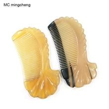 MC mujeres viaje cepillo de pelo del cuerno del Buey forma de pescado peines profesional cepillo champú cuero cabelludo antiestático peluquería encaje peines herramientas