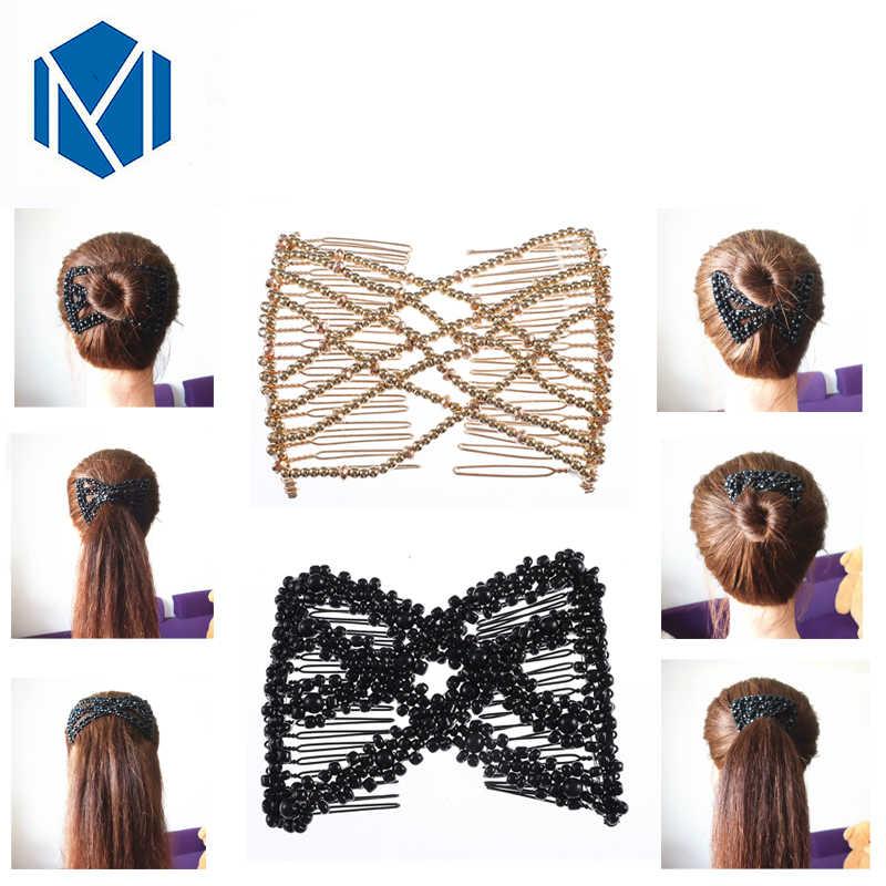 4297d21e M MISM chicas Vintage elástico DIY perla pelo peines doble Magic ...