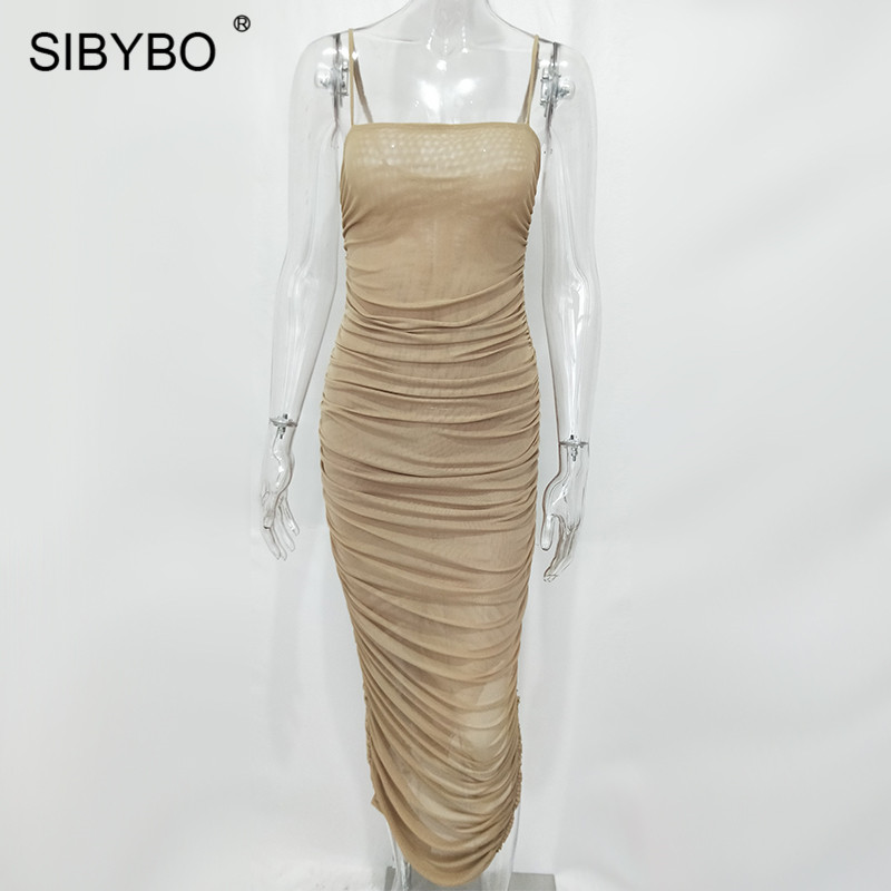 Sibybo Mesh Transparent Split Sexy Long Dress Party Spaghetti Strap Sleeveless Maxi Dress Summer Backless Bodycon Dress Women 15