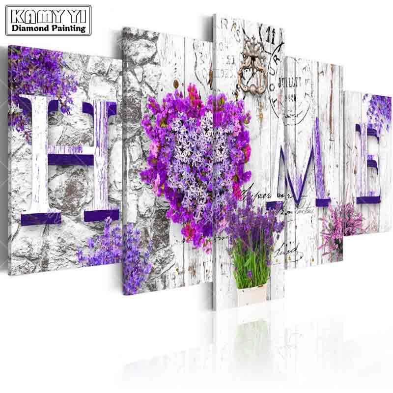 Broca praça cheia de Diamantes bordados Flor grama Casa 5D DIY pintura diamante do Ponto da Cruz de Multi-imagem de decoração para casa