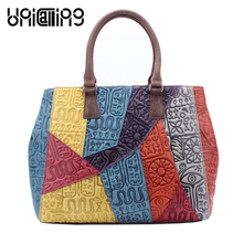 UniCalling quality brand women handbag Genuine Leather fashion hieroglyphic Panelled cow leather tote bag Patchwork design