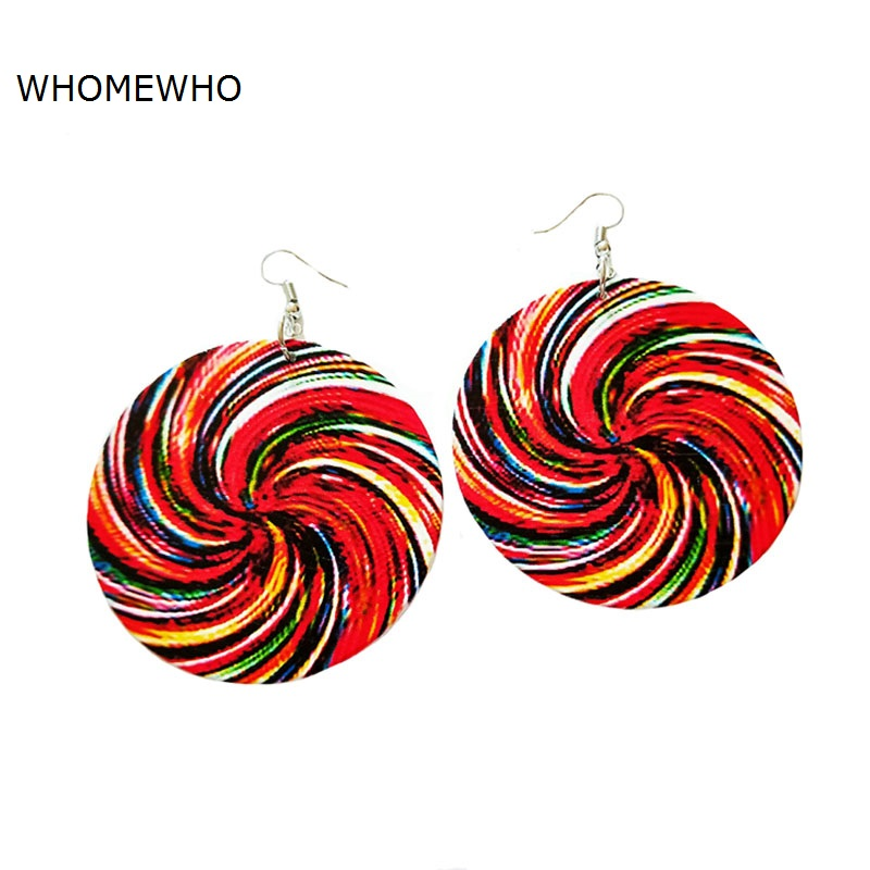 Colorful Wood Round Africa Lollipop Rainbow Cute Girl Geometric Tribal Earring Vintage Women Party Accessory Ear African Jewelry