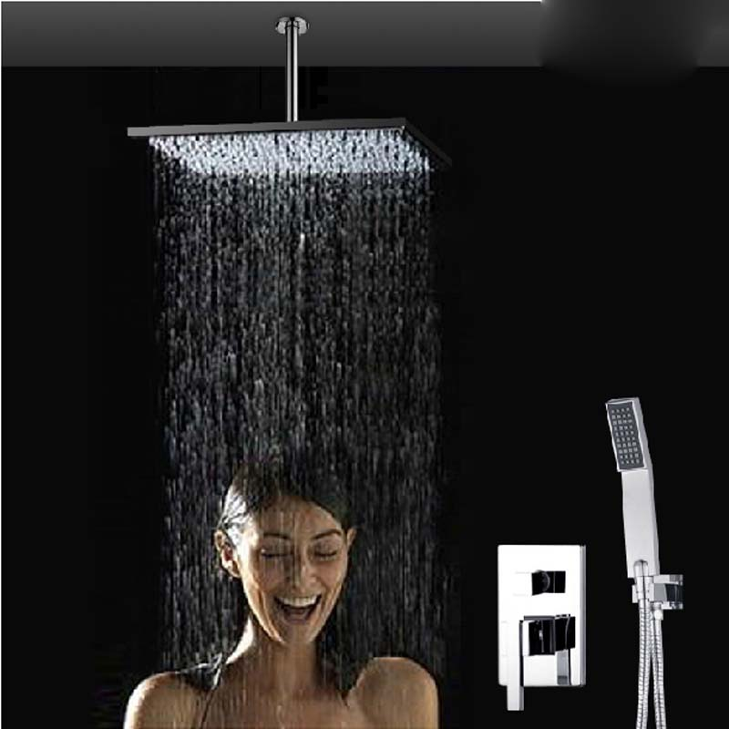 Wholesale And Retail Ceiling Mounted Rain Shower Mixer Tap Diverter Valve W/ Hand Shower Chrome Finish Shower Arm new chrome 6 rain shower faucet set valve mixer tap ceiling mounted shower set