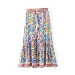 Pfau Floral Gedruckt Maxi Boho Röcke frauen Lange Chic Elastische Taille Quaste Taste Hippie Urlaub Strand Weiblichen Rock Saia