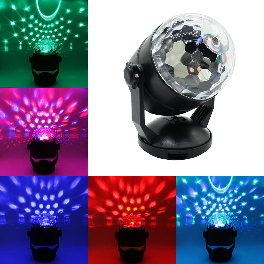 3W Mini Magic Ball Colorful Rotating Car stage lights Voice Activated USB or Battery Operated Laser Projector LED Disco Lamp magic ball lamp voice pattern rotating colorful lights flash bar ktv laser stage lighting with sound crystal