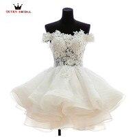 Short Wedding Dresses 2018 New Fashion Cap Fluffy Tulle Lace Romantic Bride Wedding Gown Custom Size