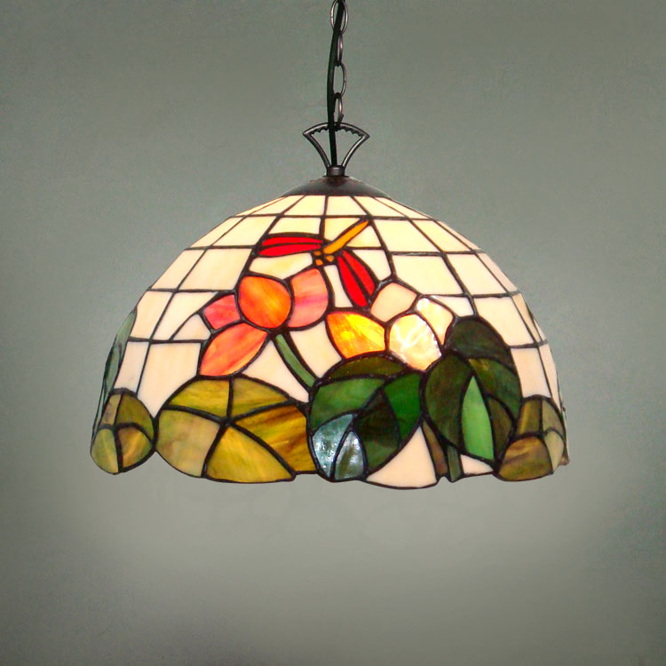 12inch Country Flowers Tiffany pendant light Country Style Stained Glass Lamp for Bedroom E27 110 240V