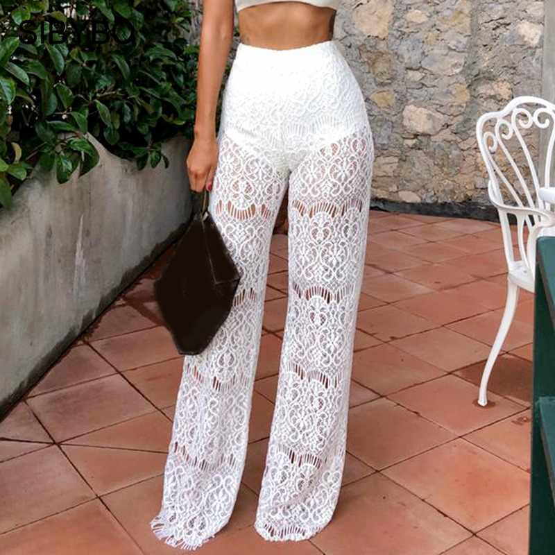 SIBYBO High Waist Loose Sexy Lace Pants Women Fashion Hollow Out Lace Crochet Long Women Trousers Black Beach Casual Women Pants