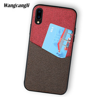 canvas stitching phone case for Huawei Nova 2s magnetic adsorption all inclusive mobile phone shell with card slot phone case