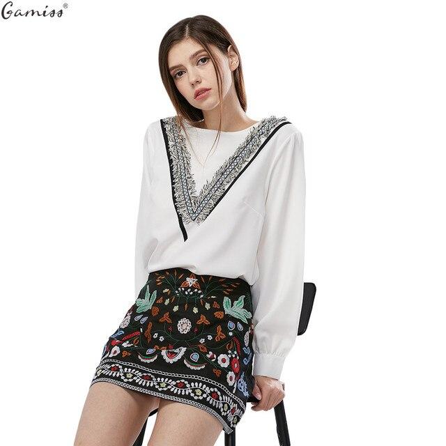 Gamiss Woman Skirt Retro Bohemian Embroidery Black Floral Ethnic Autumn Winter High Waist Slim Women Skirt Vintage 90s Mini Skir
