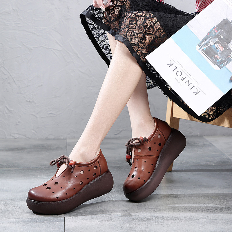 2019 Spring New Tide Women 39 s Sandals Increased Breathable Handmade Vintage Leather Hole Shoes in Women 39 s Vulcanize Shoes from Shoes
