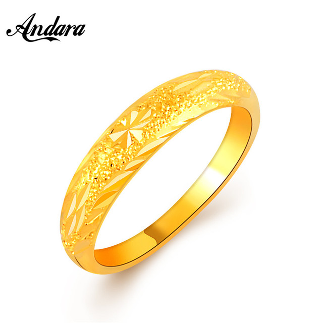 andara gold filled wedding rings women fashion 24k gold color engagement finger ring for girl female - Girl Wedding Rings