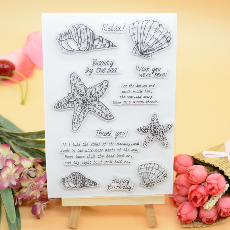 CS2017 Scrapbook DIY Photo Album Cards Transparent Acrylic Silicone Rubber Clear Stamps Sheet  10x15cm Beach lovely animals and ballon design transparent clear silicone stamp for diy scrapbooking photo album clear stamp cl 278