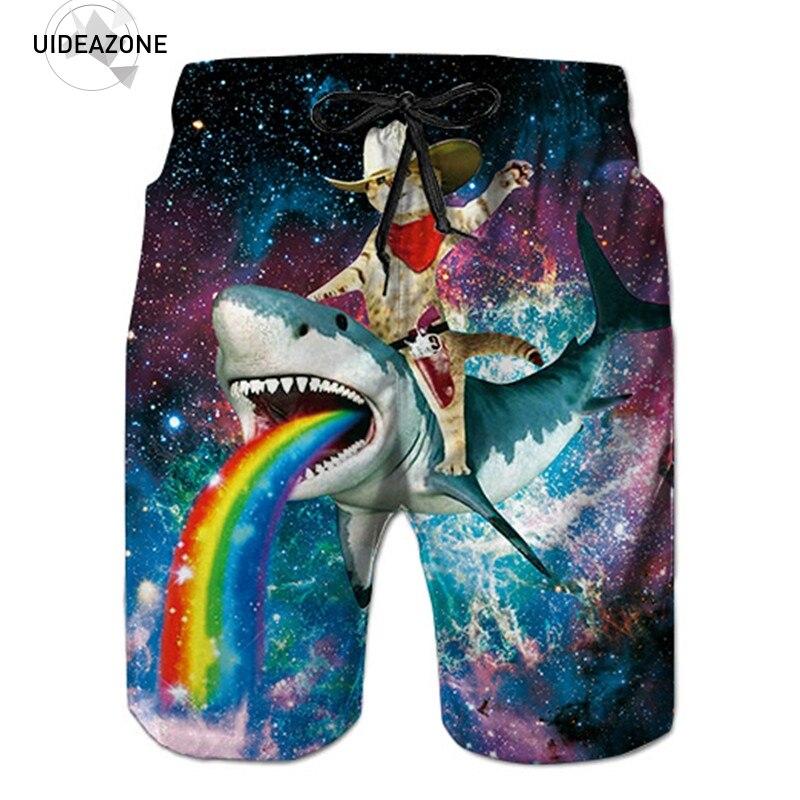 Shorts Men 2018 New Mens Casual Shorts Male Loose Work Shorts Man Shark Rainbow Space Galaxy Short Pants Korte Broek Mannen