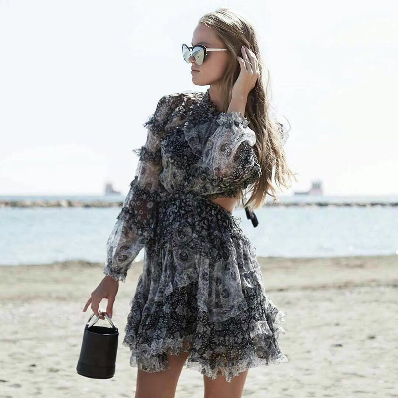 Luxury Brand High Quality Ruffles Backles Tied Lace Woman Mini Dress Noble Casual Vocation Summer Beach Dress 100 Percent Silk