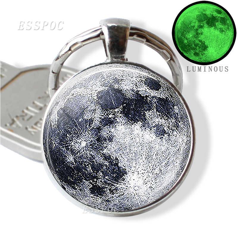 Glow no escuro lua cheia chaveiro luminosa lua cheia vidro pingente chaveiro galaxy jóias artesanal presente para homem