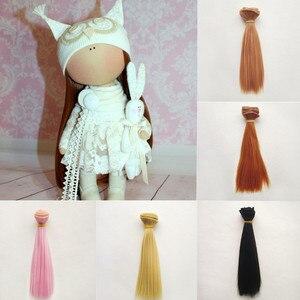 Аксессуары для куклы 25*100 см Натуральные Цветные прямые волосы для наращивания для BJD/SD/Pullip/Blyth/Американская кукла DIY ручной работы кукольный ...
