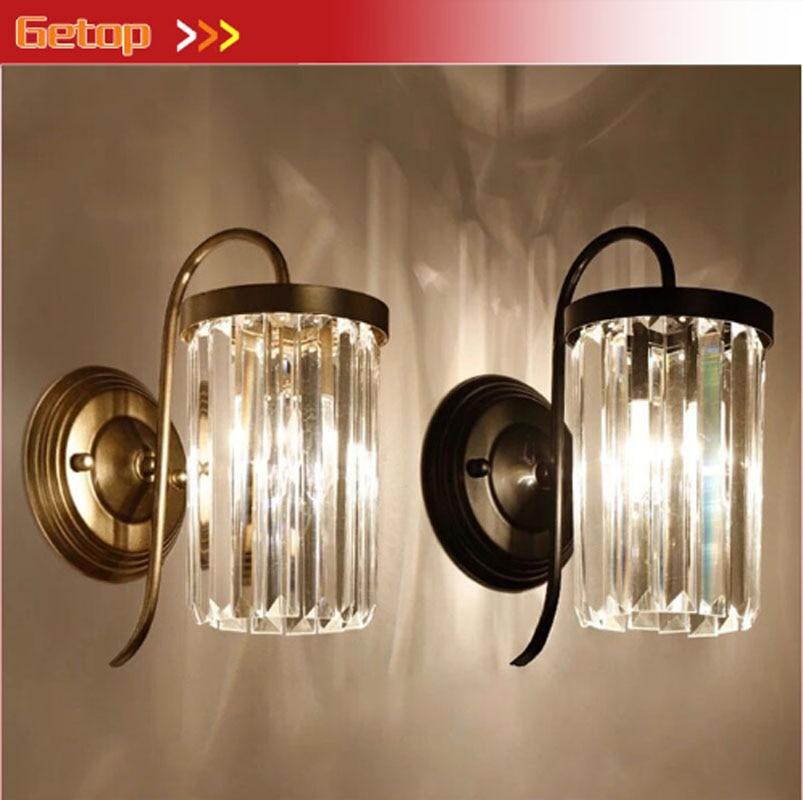ZYYAmerican iron sconces Living room Bedroom nightlights staircase passage crystal wall lamp European retro Rear plan light
