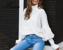2020 Xnxee spring and autumn women's explosion four-color high collar lantern sleeves sweater plum perkins collar long lantern sleeves sweater