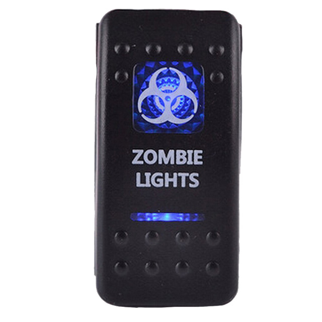 12V 20A Bar Carling Bar Rocker Toggle Switch Blue Red LED Zombie Light For Car Boat Drop Shipping