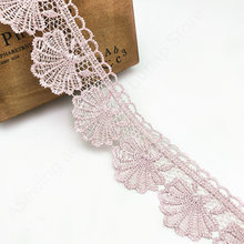 Fan-shaped 2 metros 5.5 cm roxo shell bordado lace solúvel em água lace oco lace acessórios laço 5BB5505