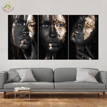 Golden Balck Girl Wall Art HD Prints Canvas Art Painting Modular Picture And Poster Canvas Painting Decoration Home 3 PIECES frameless dancing girl oil painting butterfly wall poster canvas art hd modular picture home decor 3 pieces