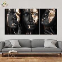 Golden Balck Girl Wall Art HD Отпечатки На Холсте Живопись Модульная Картина И Плакат Холст