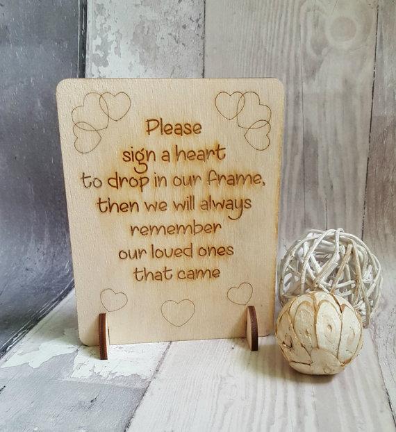 Wooden Heart Guest Book Sign Wedding Guestbook Alternative