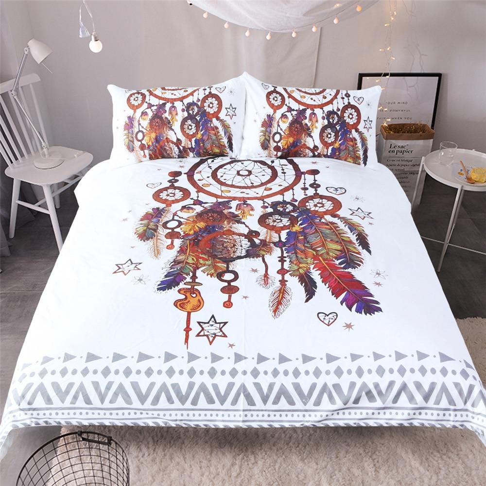 Nouveau HD 3d linge de lit indien Dreamcatcher noir blanc Tennis housse de couette coton ensemble de literie 3 pièces adulte literie taille US AU