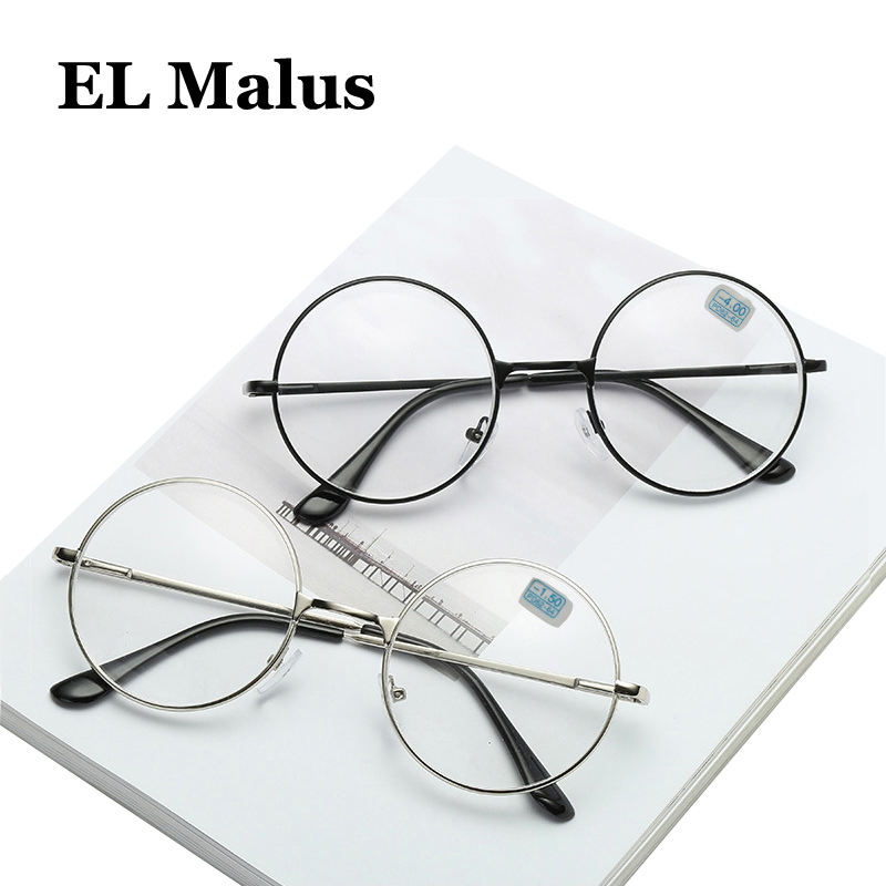 [EL Malus]Myopia Glasses For Women Men Metal Round Frame Students Short-sight Rose Gold Black Silver -1 -1.5 -2 -2.5 -3 -3.5 -4