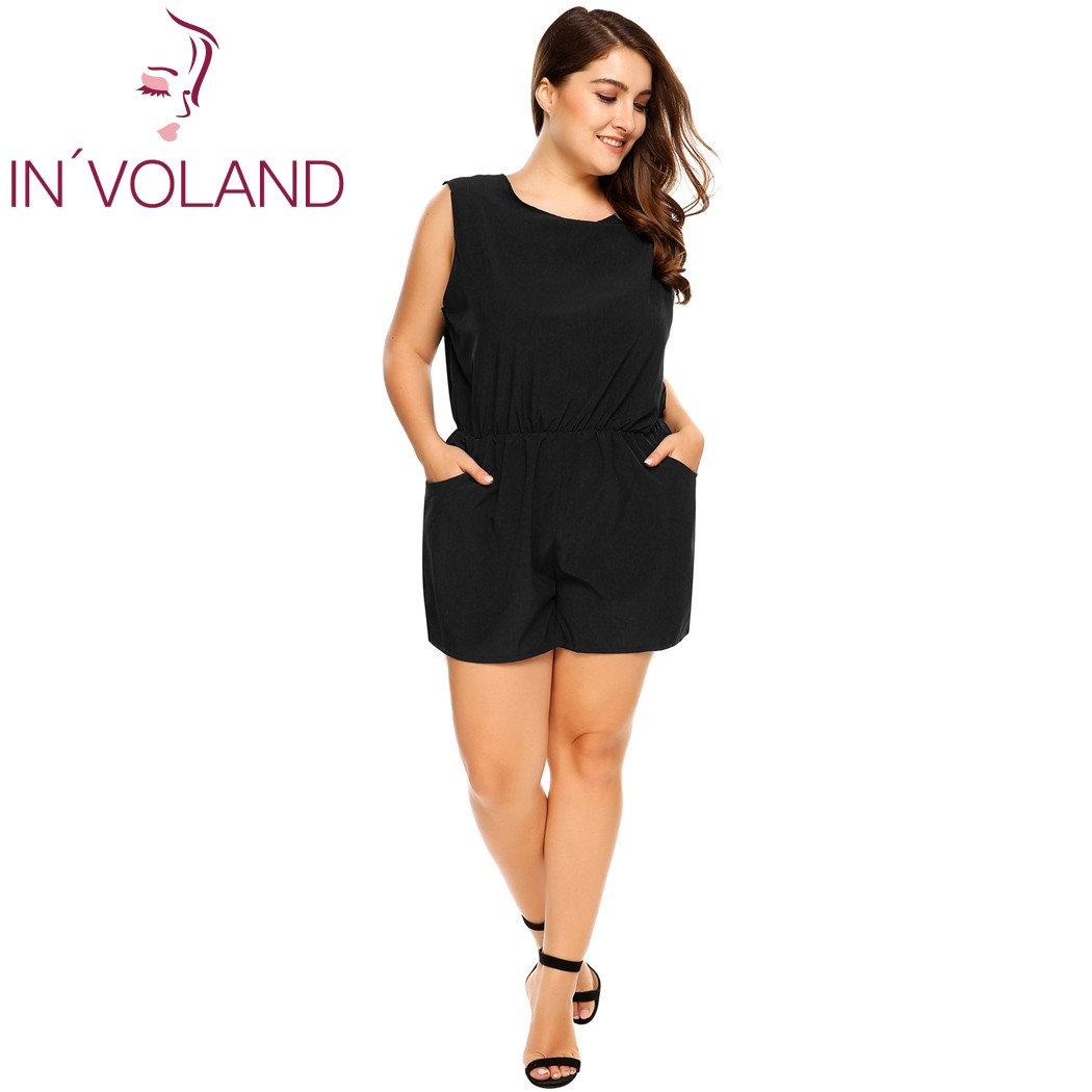 IN'VOLAND Women Romper Plus Sizes  Summer Autumn Sleeveless Backless Elastic Waist Solid  Above Knee Jumpsuit With Pockets