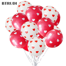 BTRUDI Printing little heart-shaped red white latex balloon 12inch 30pcs / lot  Party supplies birthday party wedding balloons