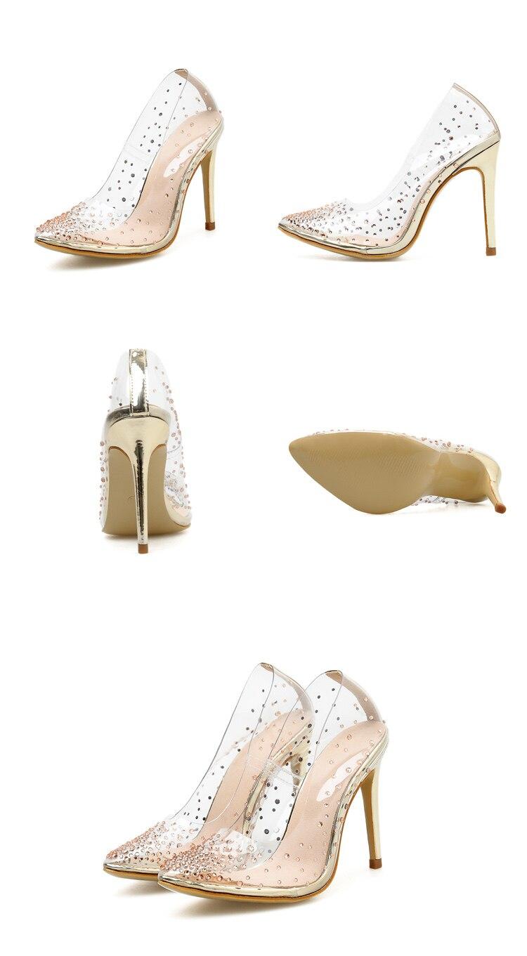 Chaussure talon doré strass PVC transparent femmes