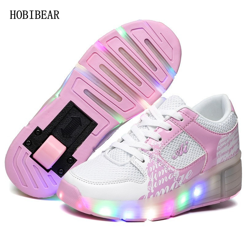 Children Glowing Sneakers Kids Roller Skate Shoes Children Led Light up Shoes Girls Boys Sneakers with Wheels tenis infantil kids shoes boys led lights sneakers with wheels single wheel glowing children shoes