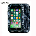 Lovemei camuflagem para perdição iphone7 waterprof 7 mais vida de metal silicone case para iphone 7 gorilla glass de alumínio saco do telefone cobrir