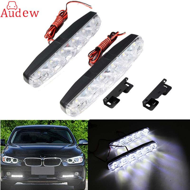 New Super White 6 LED Car Daytime Running Light DRL Daylight Lamp with Turn Lights Auto Parking Driving Lamp 1 pair metal shell eagle eye hawkeye 6 led car white drl daytime running light driving fog daylight day safety lamp waterproof