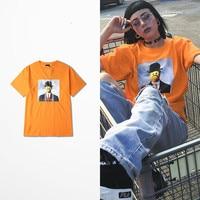 New Arrive Japanese Retro Street Tide Brand Hip Hop Tee Shirts Man Skate Board Harajuku Yellow