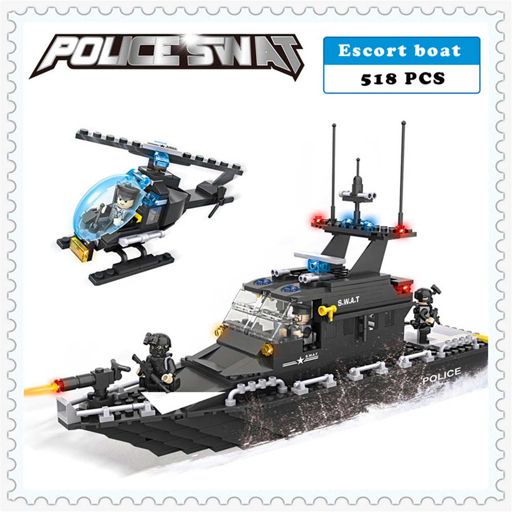 518Pcs SWAT Police Escort Boat Helicopter Building Block Compatible Legoe Toys  HSANHE 6511 Figure Brinquedos Gift For Children kazi 6726 police station building blocks helicopter boat model bricks toys compatible famous brand brinquedos birthday gift
