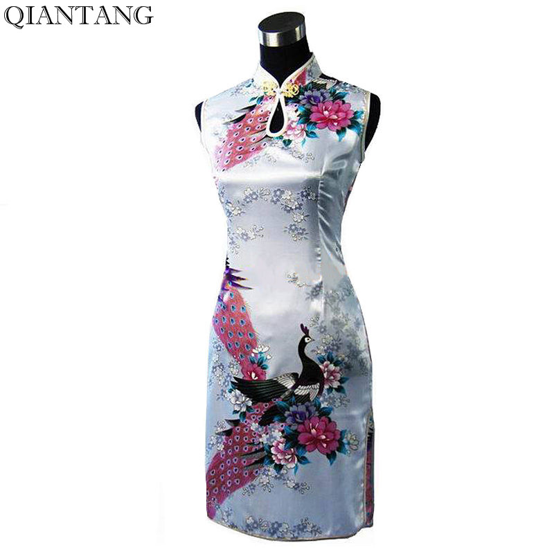 Hot Sale White Chinese Women's Silk Rayou Cheongsam Stylish Summer Mini Qipao Dress Flower S M L XL XXL Mujeres Vestido J5143