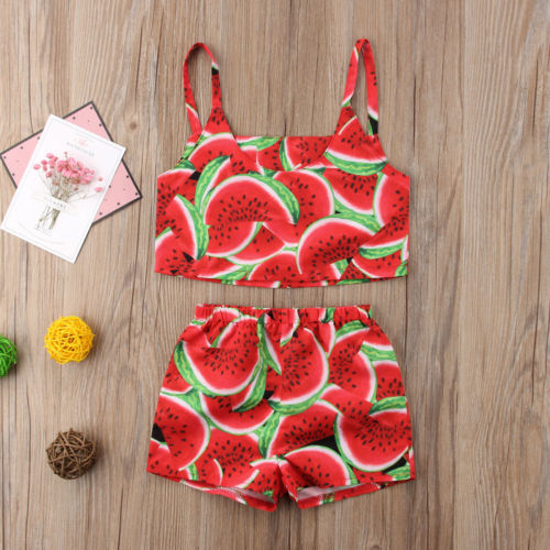 Fashion Toddler Kid Baby Girl Watermelon Sleeveless Top Shorts Outfit Clothes -In -2953