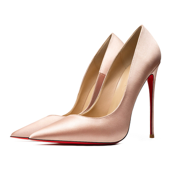 Quality Silk Satin Women Sexy Pumps Red Bottom Shoes Wedding Party Dress Pointed Toe Shallow High Heels Thin Heel Stilettos sophitina classics wedding lady pumps sexy shallow party slip on thin high heels pumps pointed toe high quality women shoes d56