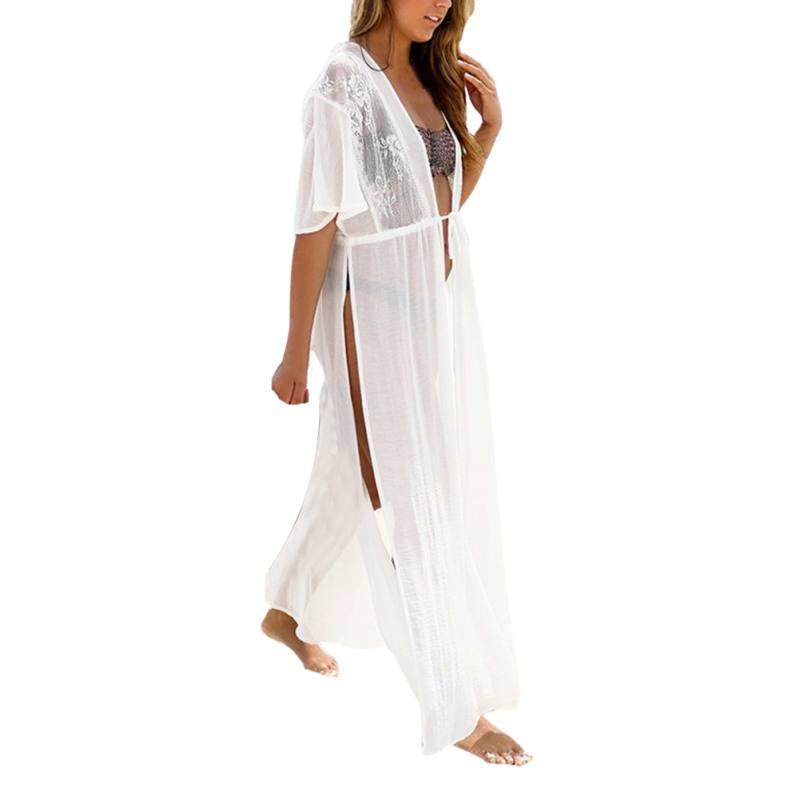 Sexy Women Floral Embroidery Beach Lace Cover Up Robe De Plage Beach Cardigan Bathing Su ...