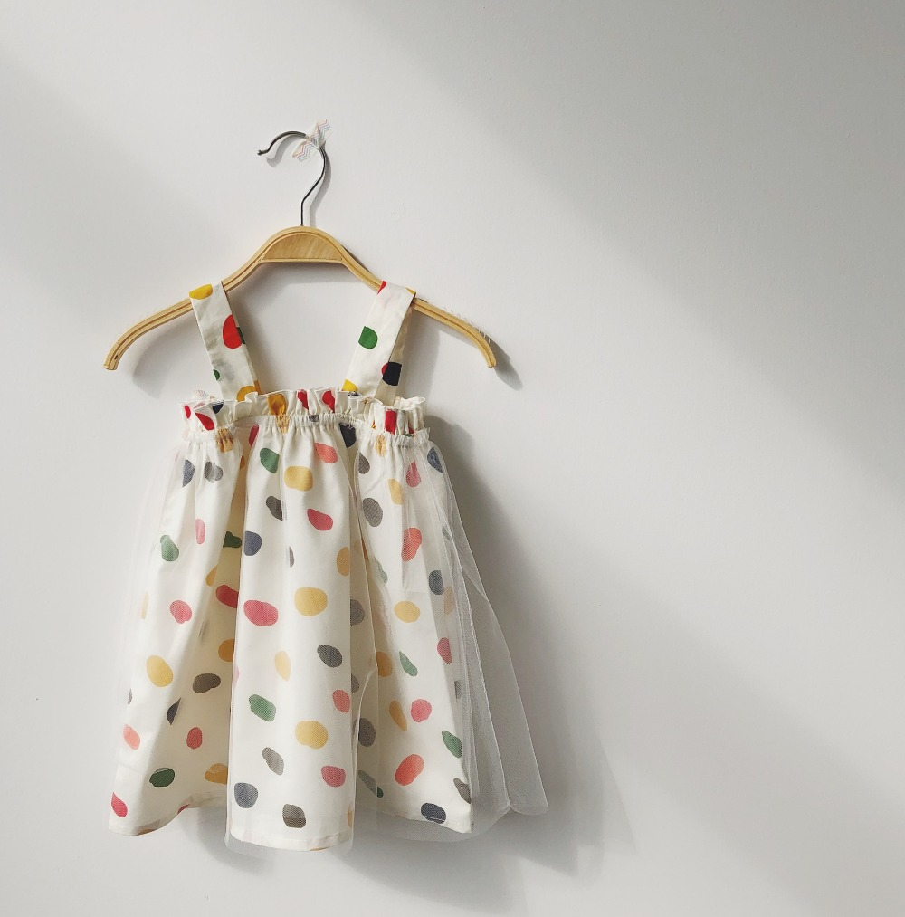 baby girl summer dresses Beige mesh stitching dress Colorful dot print sleeveless dress princess clothes girl