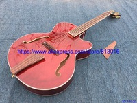New Arrival JAZZ electric guitar,Wine red,no electronics,wood bridge ,tail and pickguard,gold parts.no inlay,free Shipping