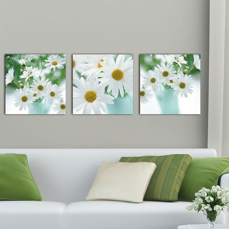 Wall Paintings Floral Still Life Of White African Daisy Flower Gerbera Daisy 3 Pieces Panelmodern Giclee Artwork Painting Wall Wall Painting Painting Wall3 Piece Aliexpress